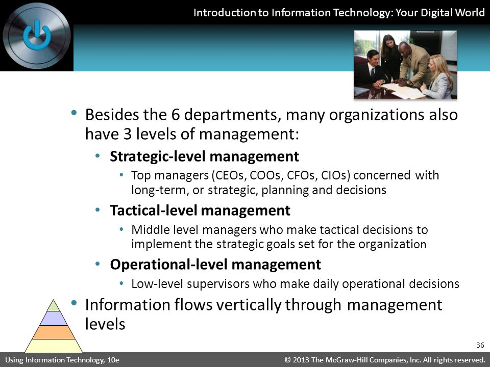 Information flows vertically through management levels
