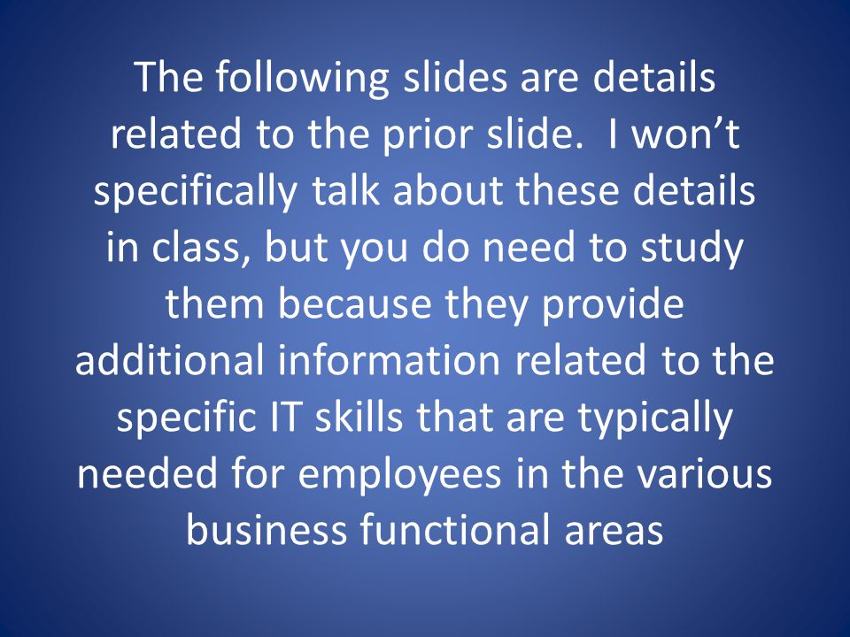 The following slides are details related to the prior slide