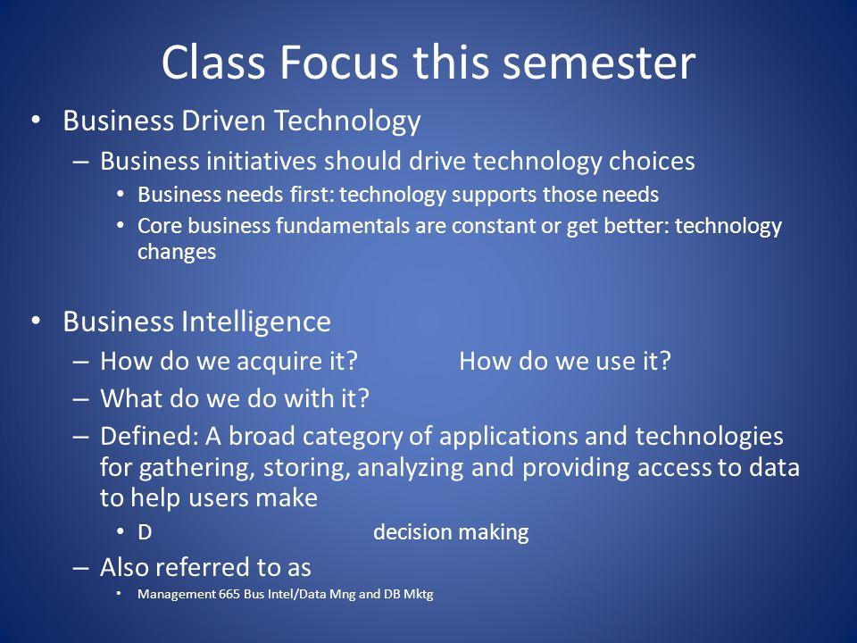 Class Focus this semester