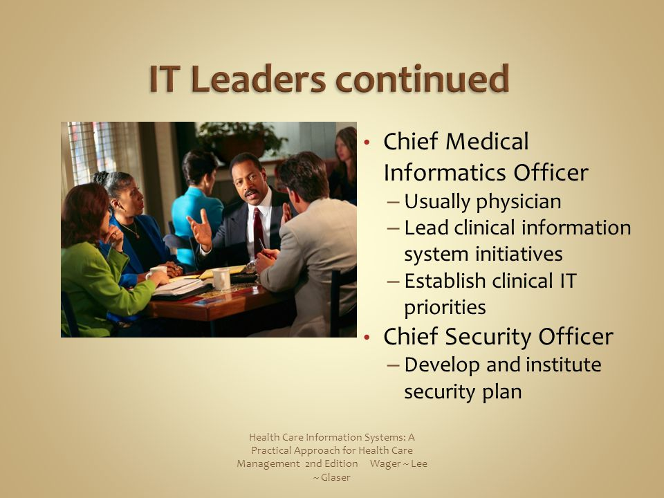 IT Leaders continued Chief Medical Informatics Officer