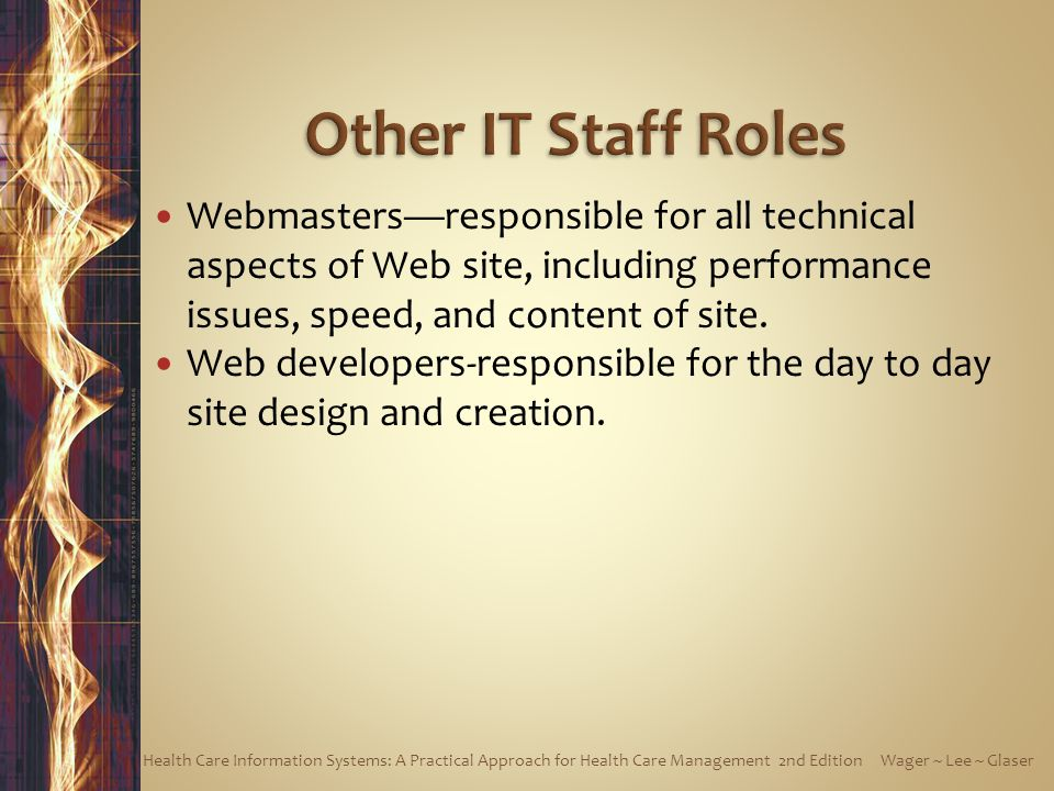 Other IT Staff Roles Webmasters—responsible for all technical aspects of Web site, including performance issues, speed, and content of site.