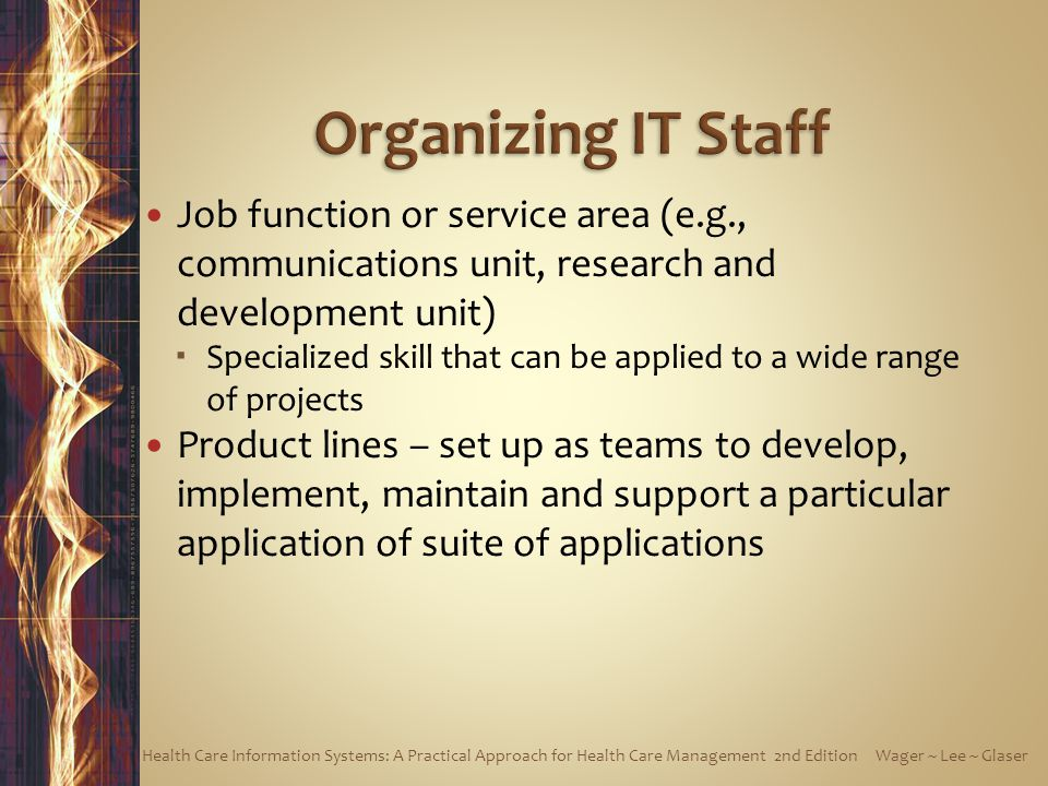 Organizing IT Staff Job function or service area (e.g., communications unit, research and development unit)