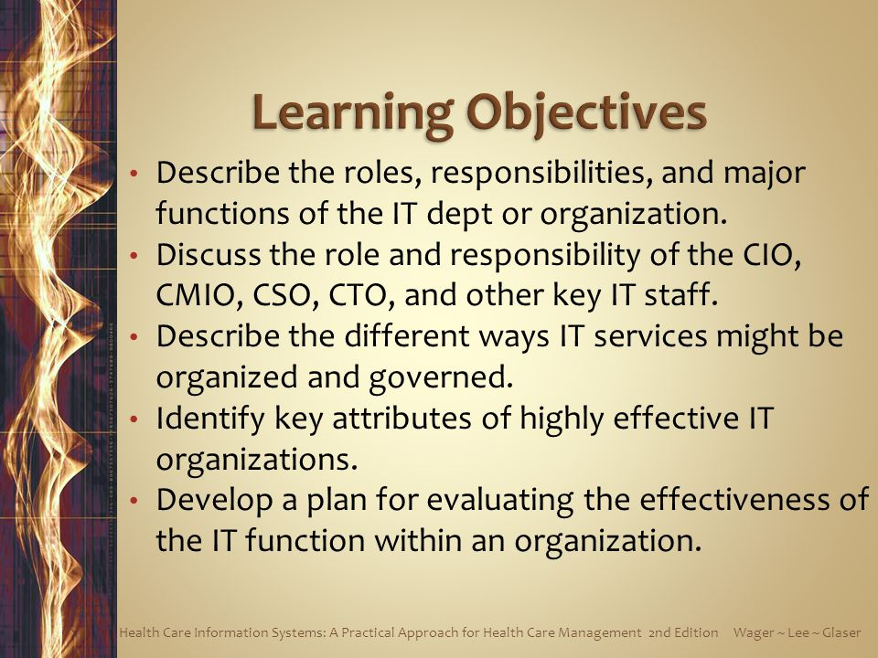 Learning Objectives Describe the roles, responsibilities, and major functions of the IT dept or organization.