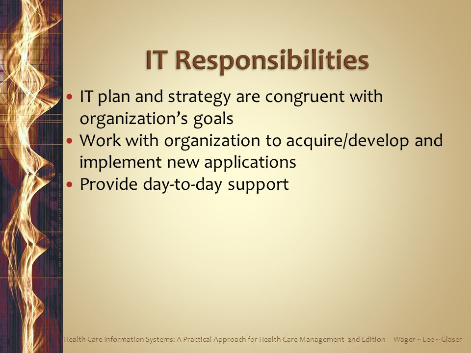 IT Responsibilities IT plan and strategy are congruent with organization's goals.