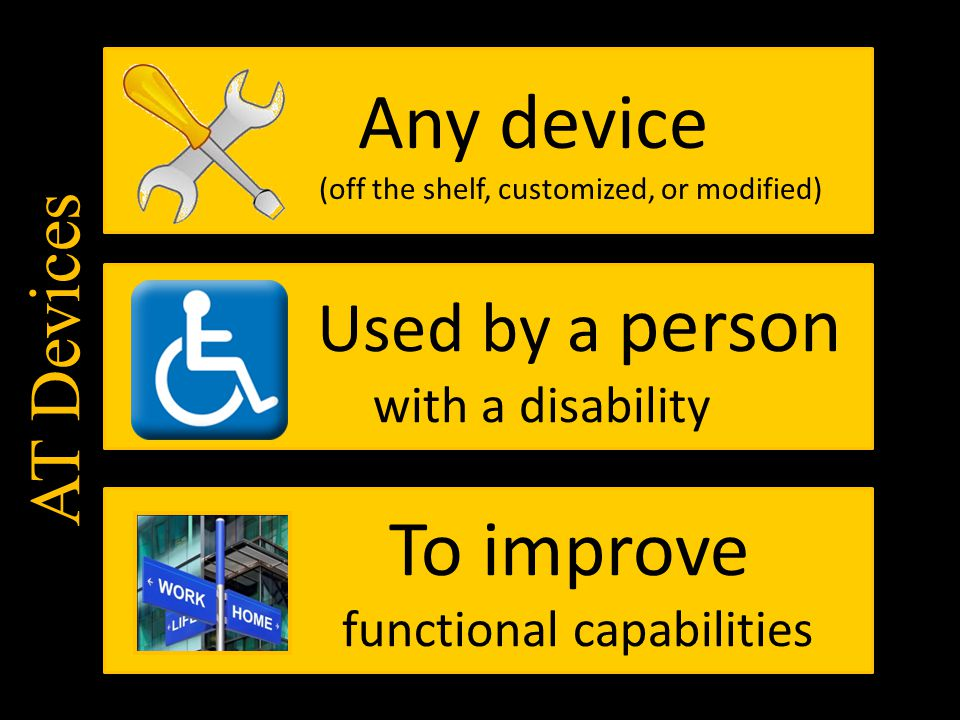 Any device Used by a person To improve AT Devices with a disability