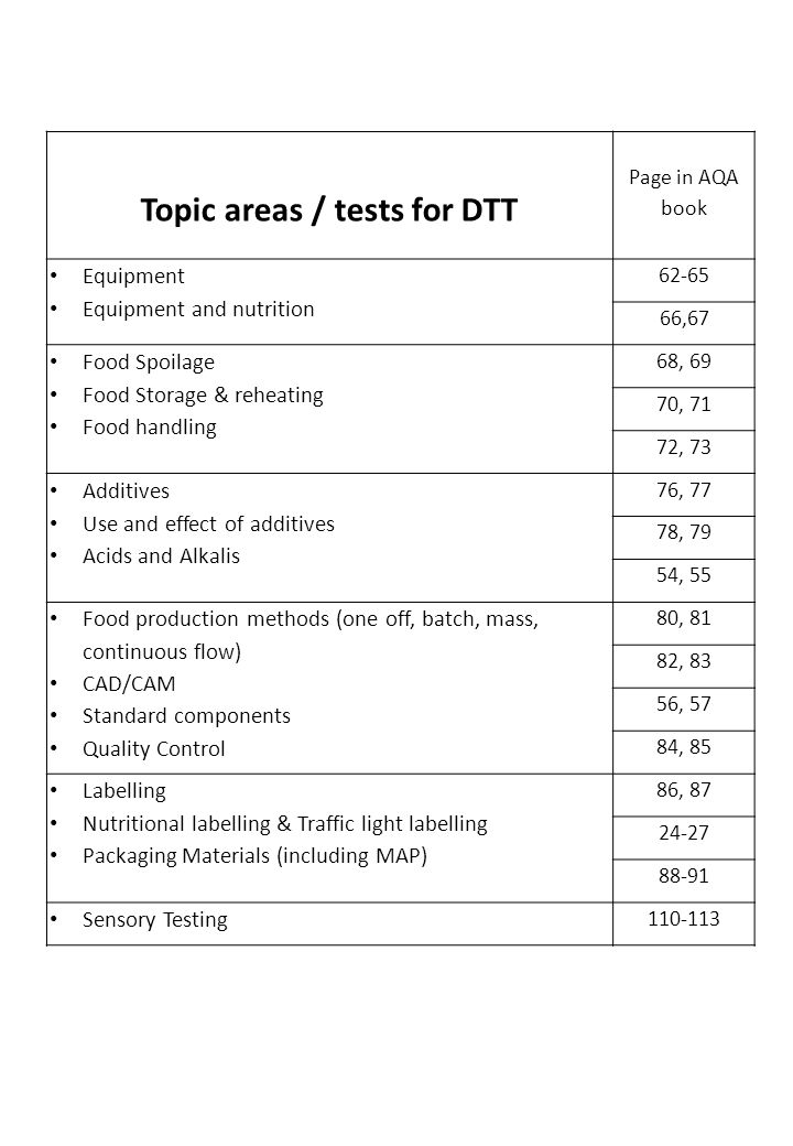 Topic areas / tests for DTT