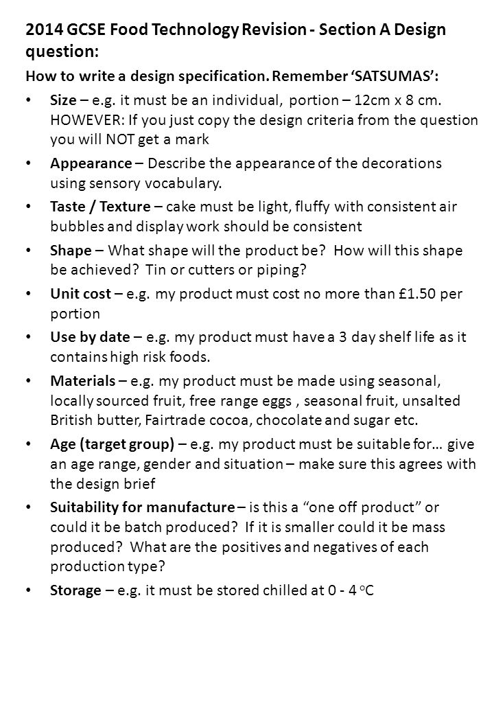 2014 GCSE Food Technology Revision - Section A Design question: