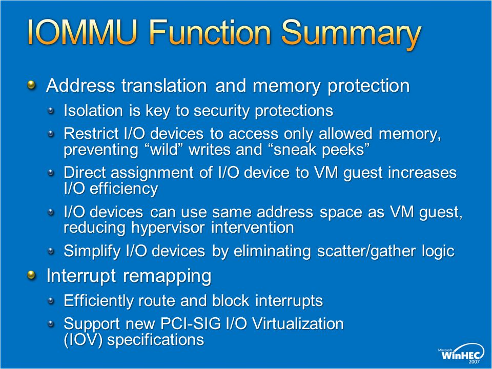 IOMMU Function Summary