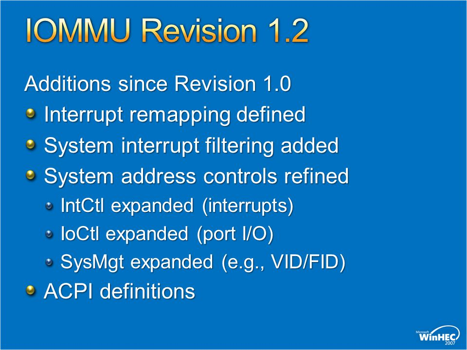 IOMMU Revision 1.2 Additions since Revision 1.0
