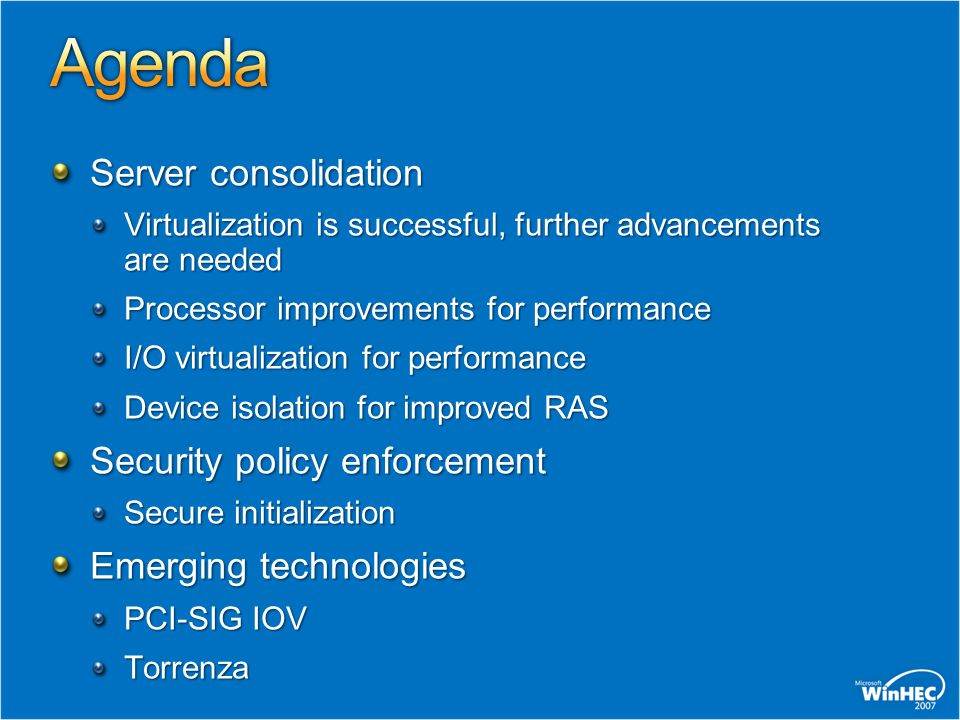 Agenda Server consolidation Security policy enforcement