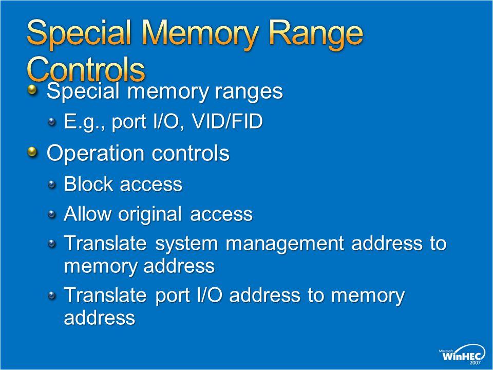 Special Memory Range Controls