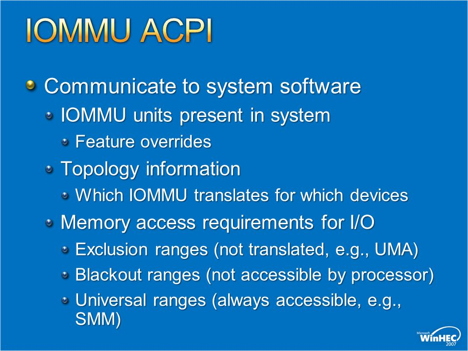 IOMMU ACPI Communicate to system software