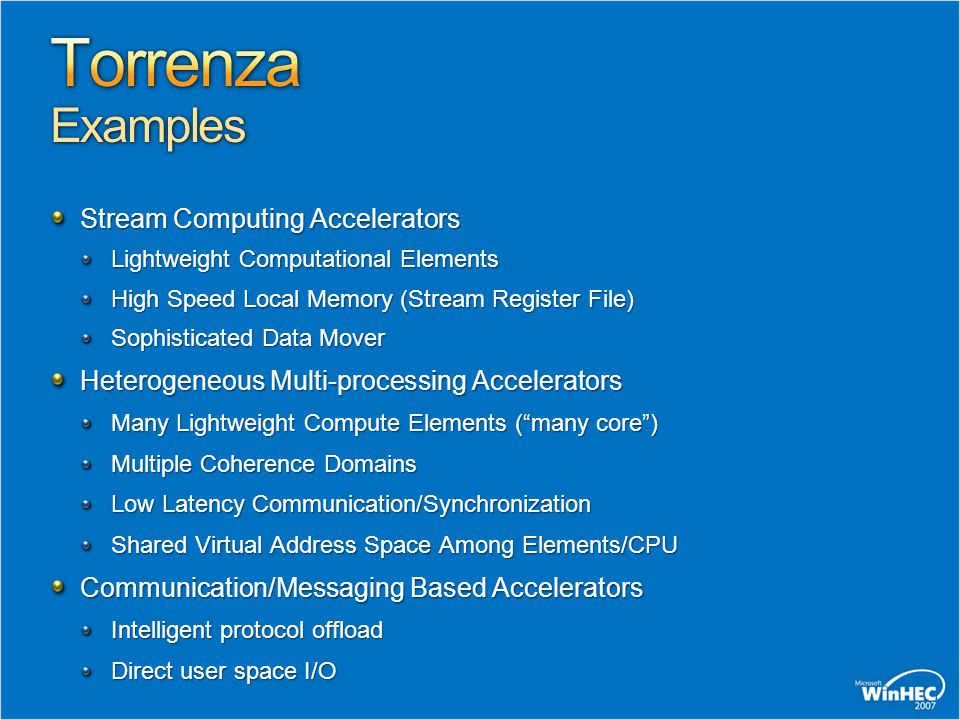 Torrenza Examples Stream Computing Accelerators