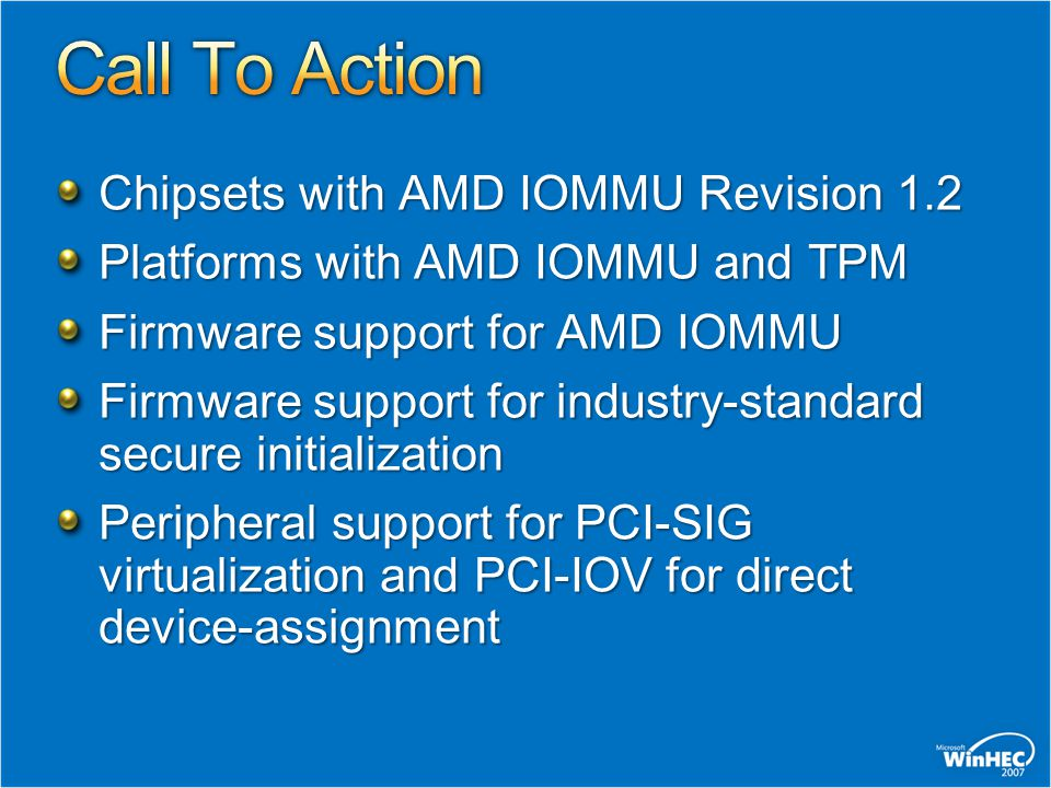 Call To Action Chipsets with AMD IOMMU Revision 1.2