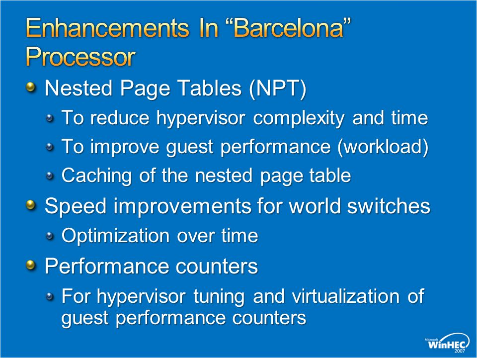 Enhancements In Barcelona Processor