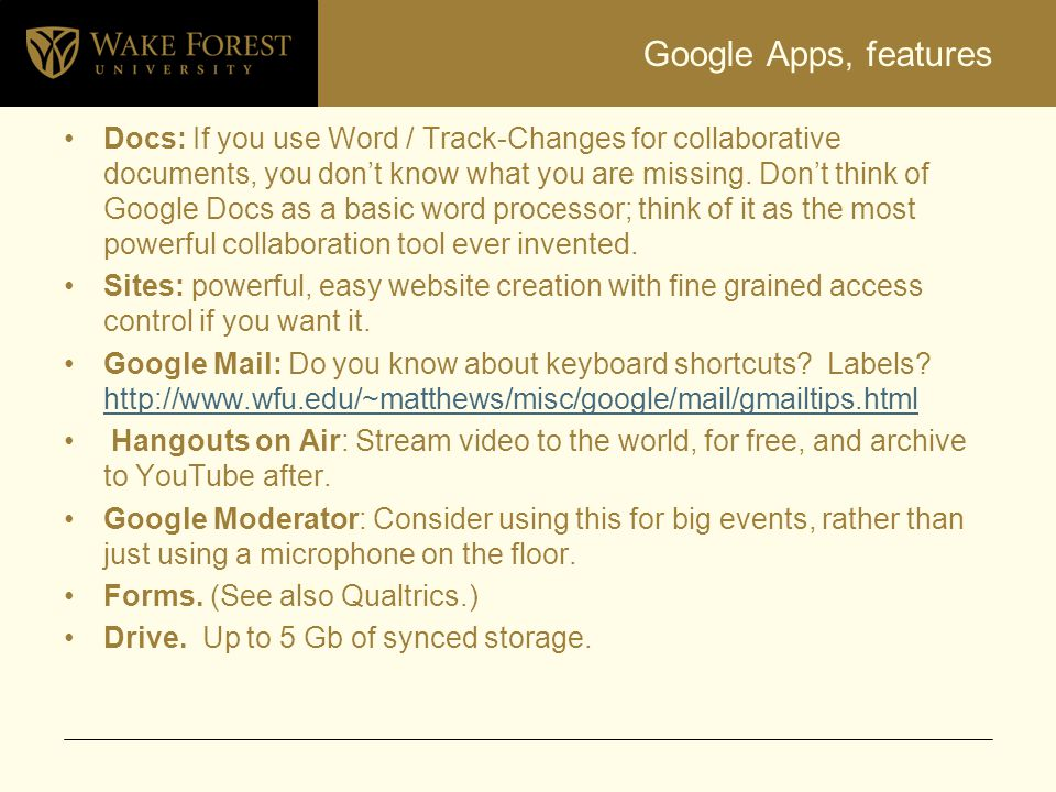 Google Apps, features