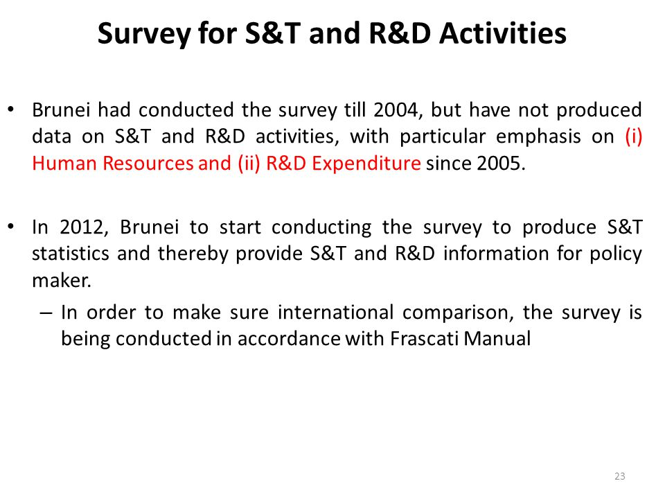 Survey for S&T and R&D Activities