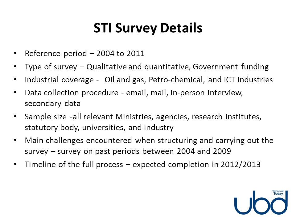 STI Survey Details Reference period – 2004 to 2011
