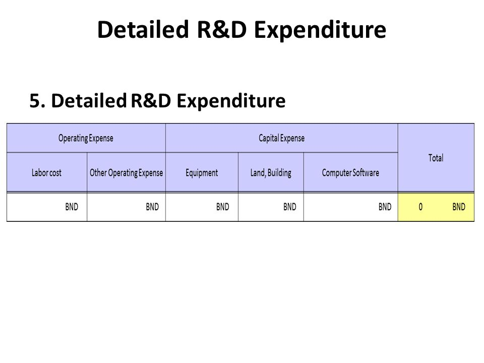 Detailed R&D Expenditure
