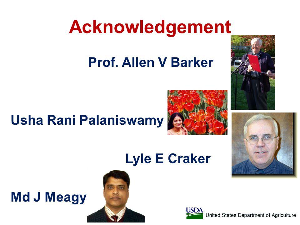 Acknowledgement Prof. Allen V Barker Usha Rani Palaniswamy Lyle E Craker Md J Meagy