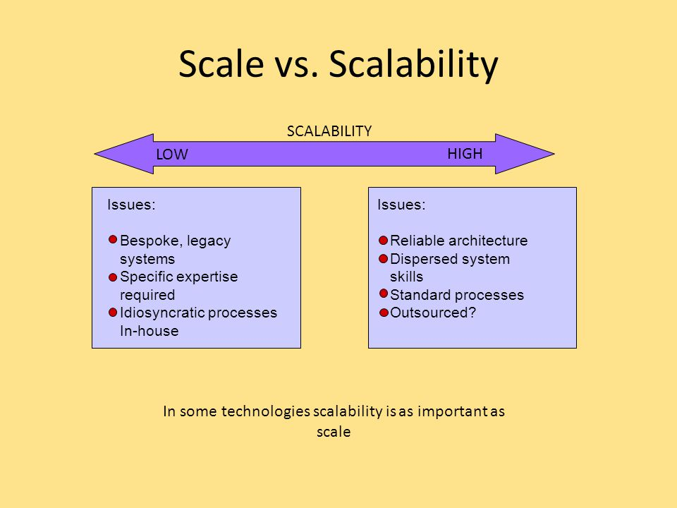 In some technologies scalability is as important as scale