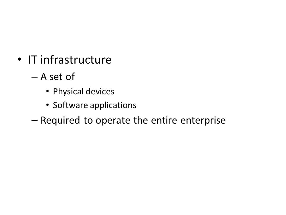 IT infrastructure A set of Required to operate the entire enterprise