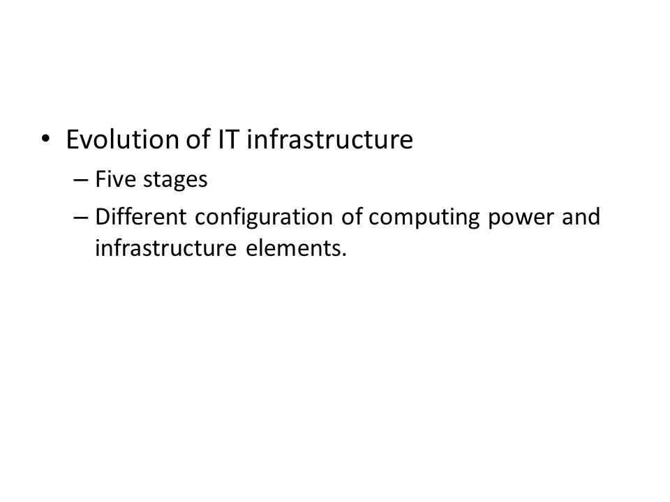 Evolution of IT infrastructure