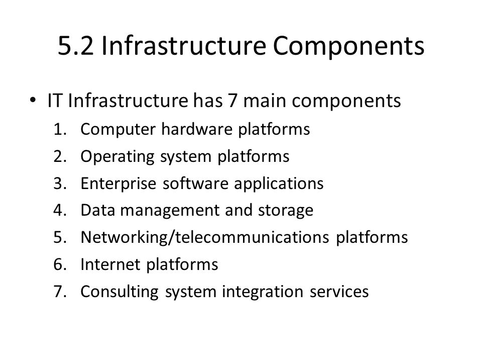 5.2 Infrastructure Components