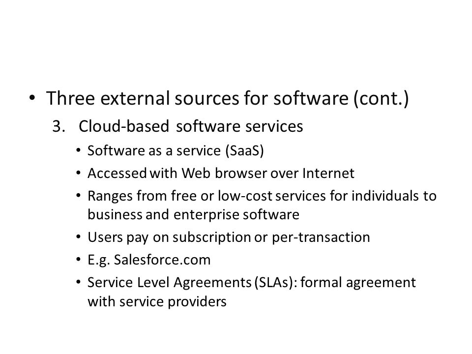 Three external sources for software (cont.)
