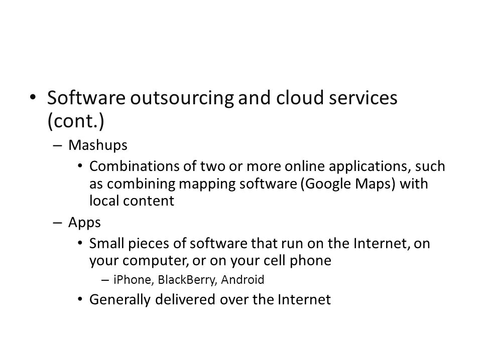 Software outsourcing and cloud services (cont.)