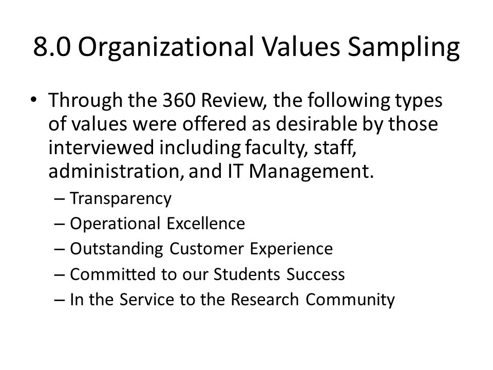 8.0 Organizational Values Sampling