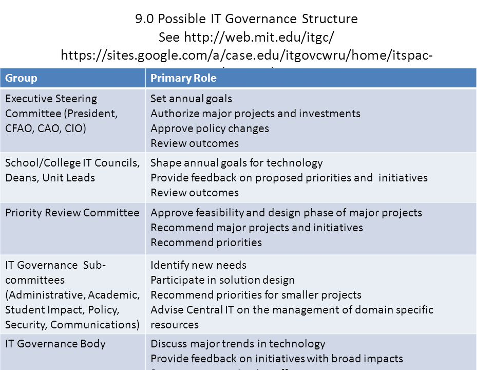 9. 0 Possible IT Governance Structure See   mit