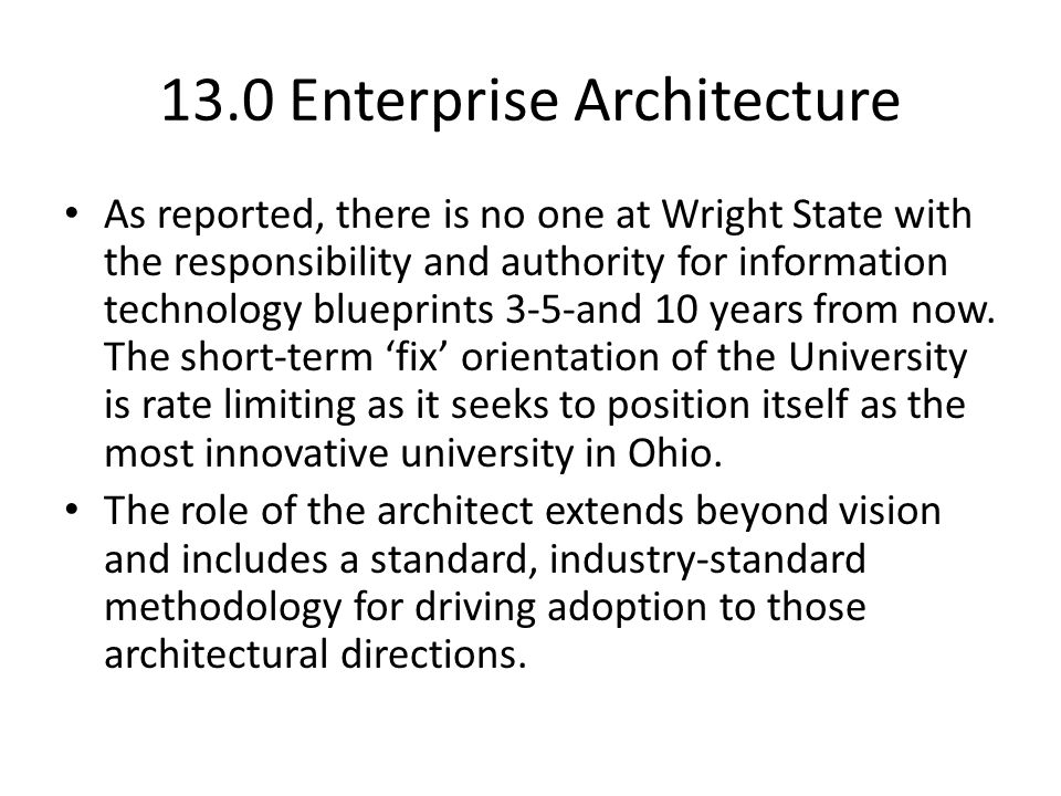 13.0 Enterprise Architecture