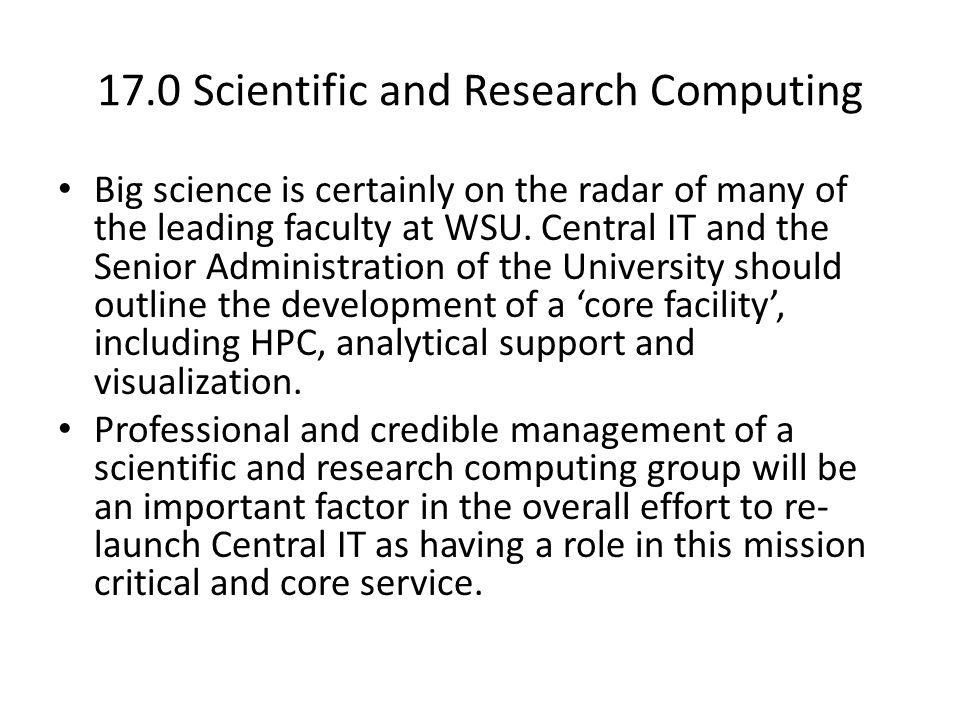 17.0 Scientific and Research Computing