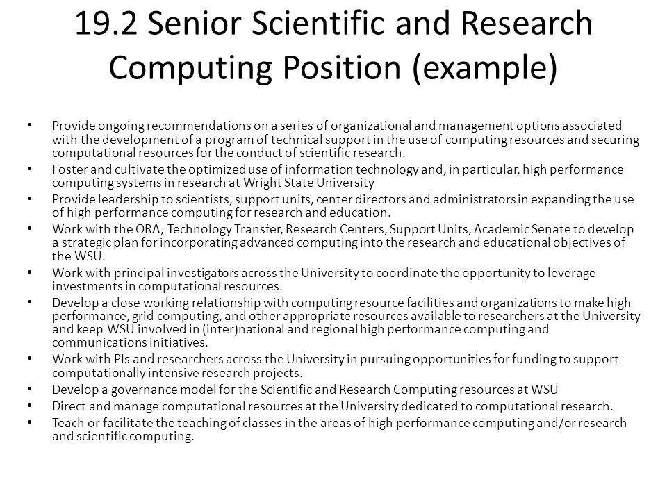 19.2 Senior Scientific and Research Computing Position (example)