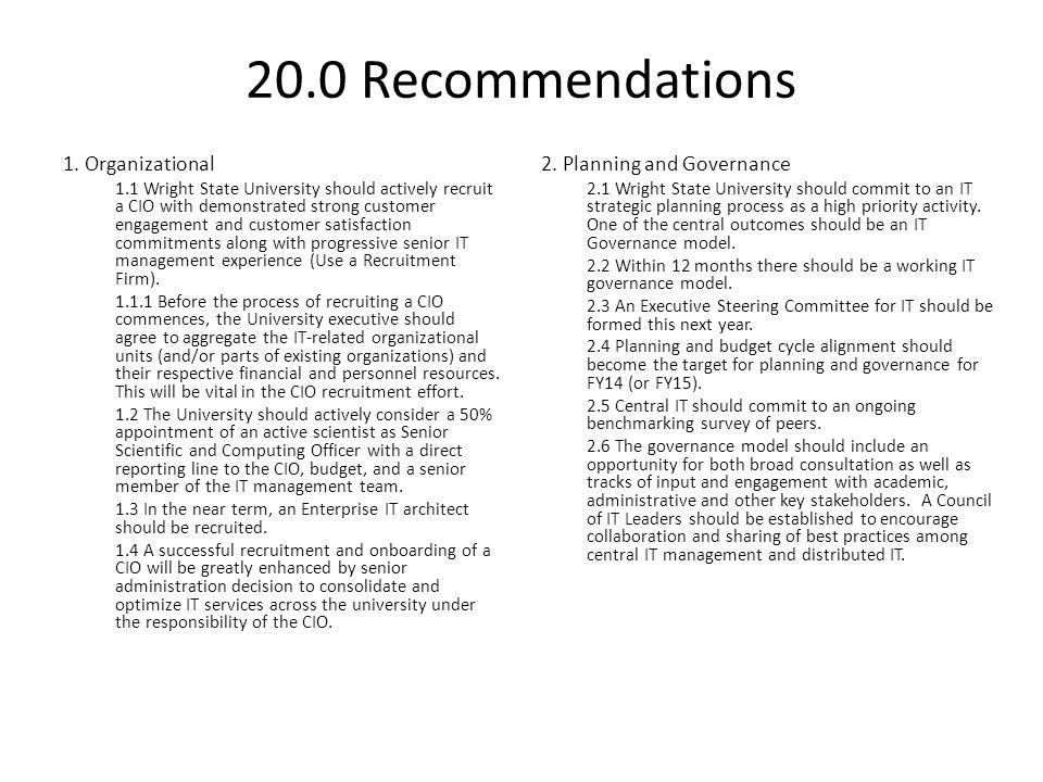 20.0 Recommendations 1. Organizational 2. Planning and Governance