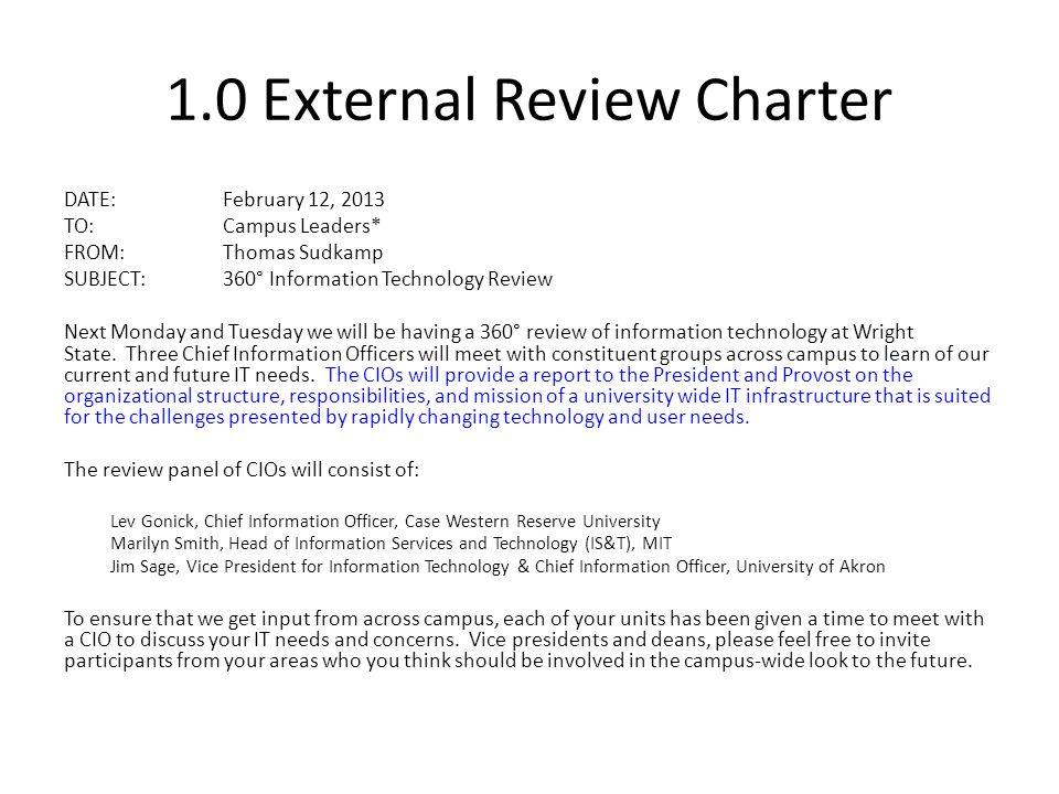 1.0 External Review Charter