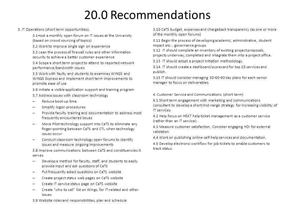 20.0 Recommendations 3. IT Operations (short term opportunities).