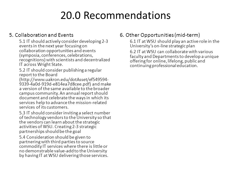 20.0 Recommendations 5. Collaboration and Events