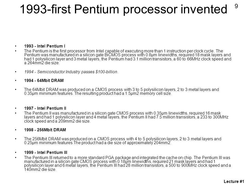 1993-first Pentium processor invented
