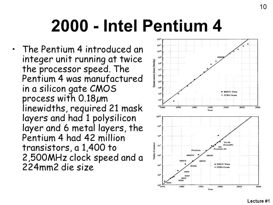 10 2000 - Intel Pentium 4.
