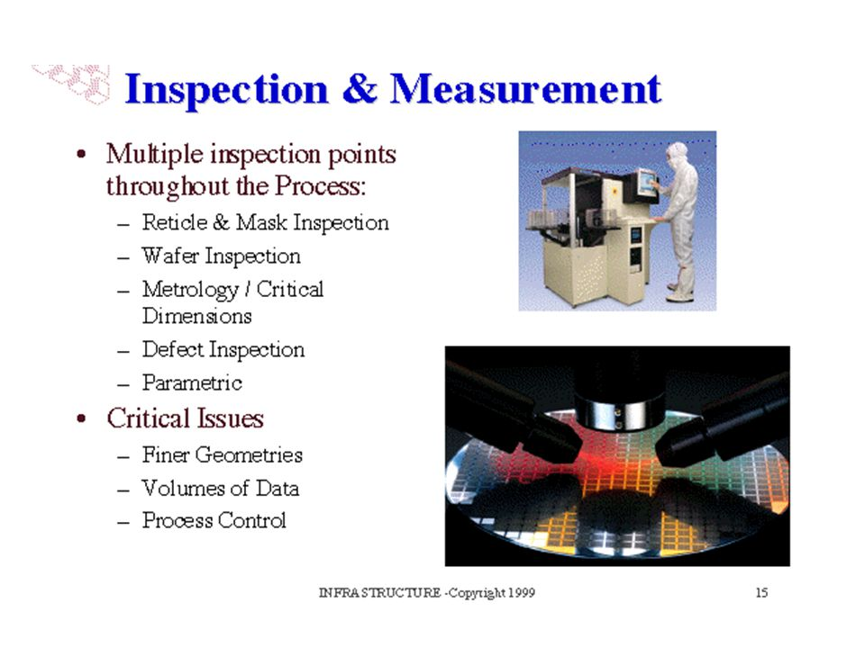 Inspection and Measurement is a critical area in semiconductor manufacturing. Chipmaking deals with so many state-of-the-art materials, small features and precision, that the ability to measure and monitor the process is vital.