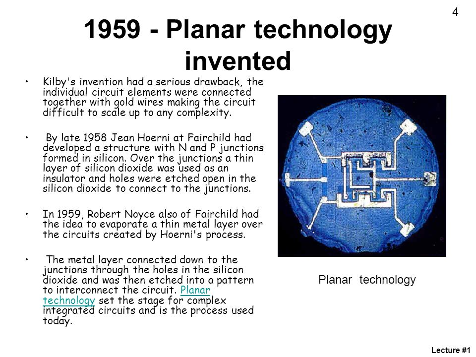 1959 - Planar technology invented