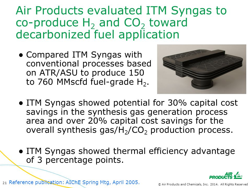 Air Products evaluated ITM Syngas to co-produce H2 and CO2 toward decarbonized fuel application