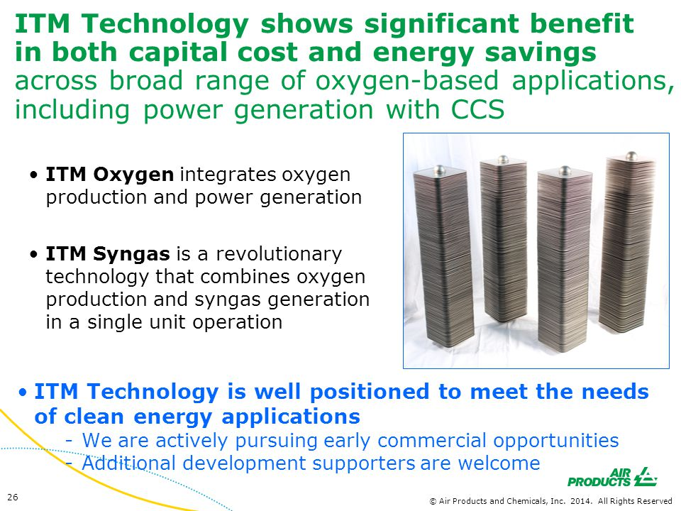 ITM Technology shows significant benefit in both capital cost and energy savings across broad range of oxygen-based applications, including power generation with CCS