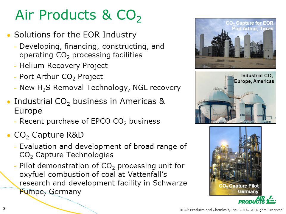 Air Products & CO2 Solutions for the EOR Industry