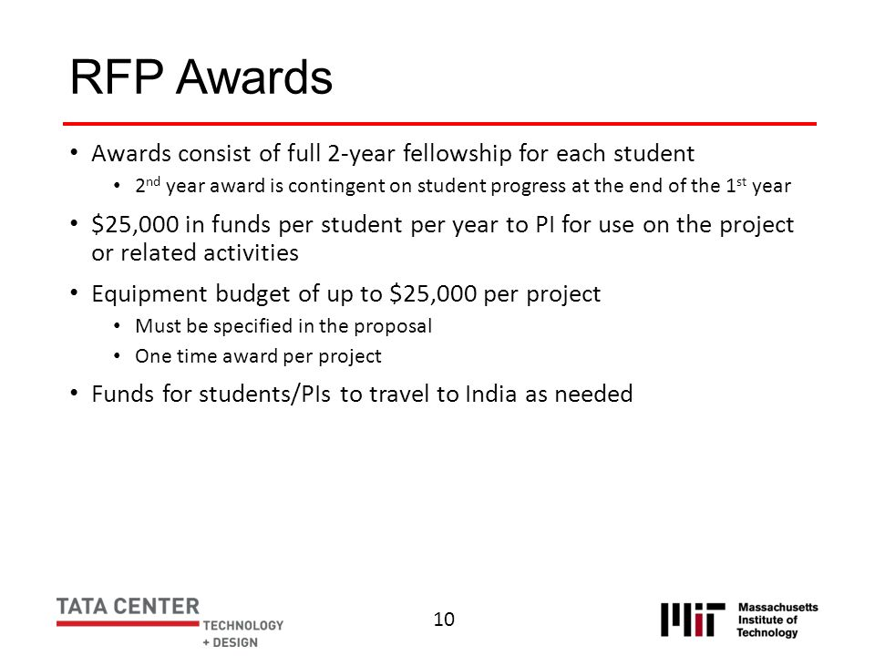 RFP Awards Awards consist of full 2-year fellowship for each student