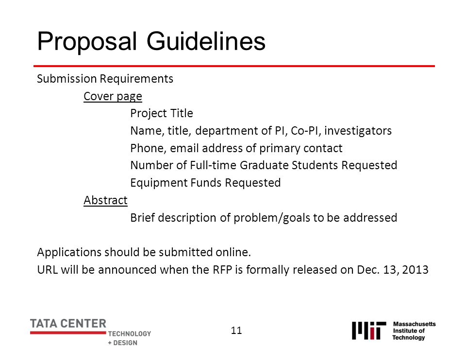 Proposal Guidelines Submission Requirements Cover page Project Title