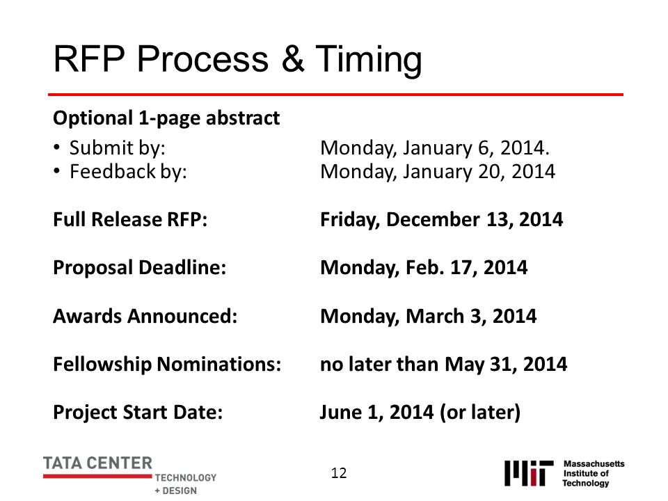 RFP Process & Timing Optional 1-page abstract