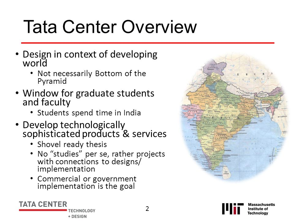 Tata Center Overview Design in context of developing world